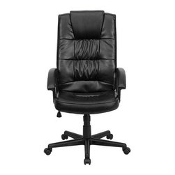 Flash Furniture - Flash Furniture Ergonomically Curved Chair in Black - Flash Furniture - Office Chairs - GO7102GG - Affordable leather computer chair will provide you with the comfort needed for browsing the internet. The chair features attractive upholstery gathering in the inner seat and back cushions that provide the perfect contrast against the slight upholstery gathering shown on the outer cushions. Select this value priced leather chair when its time for your next chair purchase. [GO-7102-GG]
