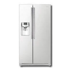 "Samsung - RS261MDWP 36"" 26 cu. ft. Side by Side Refrigerator with 4 Tempered Glass Spill P - Keep your groceries fresh in this refrigerator that features 6 temperature settings for keeping your food at an optimal temperature digital controls for easy operation and gallon door storage for conveniently holding large bottles"