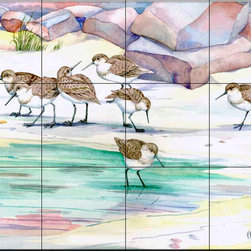The Tile Mural Store (USA) - Tile Mural - Sandpiper Shoreline - Kitchen Backsplash Ideas - This beautiful artwork by Paul Brent has been digitally reproduced for tiles and depicts a group of sandpipers.  Images of waterfowl on tiles are great to use as a part of your kitchen backsplash tile project or your tub and shower surround bathroom tile project. Pictures of egrets on tile, images of herons on tile and decorative tiles with ducks and geese make a great kitchen backsplash idea and are excellent to use in the bathroom too for your shower tile project. Consider a tile mural of water fowl for any room in your home where you want to add interesting wall tile.