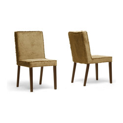 """Wholesale Interiors - Cuba Brown Microfiber Modern Dining Chairs, Set of 2 - A simple shape trimmed with fringe, our Cuba Designer Dining Chair is fitting as a seat for a casual dinner with family or friends. This modern dining chair is made with a brown rubber wood frame, foam cushioning, and soft ribbed microfiber upholstery in a matching shade of brown. The fringe trimming the edges of the seat take on the appearance of frayed or cutoff blue jeans. Additional features include stain resistant-treated fabric and fire retardant properties as well as non-marking feet. This Malaysian-made contemporary chair is fully assembled and should be spot cleaned as necessary. A black version of this chair is also available (sold separately). Dimension: 18""""W x 23.25""""D x 34.5""""H, seat: 18""""W x 18""""D x 17""""H."""