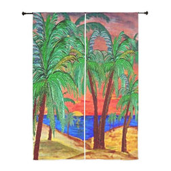 xmarc - Palm Tree Tropical Sheer Curtains, Mountain Sunset Palms - The windows have it with these sheer, decorative curtains. Romantic and flowing, these elegant chiffon window treatments finish a room with the perfect statement