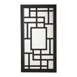 SEI - Carmen Wall Mount Jewelry Mirror - The elaborate, linear design of this modern jewelry mirror is only topped by the abundant storage it provides. This wall mount mirror offers an assortment of storage options in a once wasted space and is the perfect solution to keep you organized. This jewelry mirror features a shiny black finish and a bold, contemporary design. The unit offers 14 hanging hooks, 16 earring notches, four cushioned ring holders, and a shelf with three bins for assorted pieces. The inside storage features black felt lining to help prevent your most prized possessions from scuffing or scratching. This jewelry mirror blends with many styles of decor and works especially well in transitional to modern homes. This well-designed wall mount jewelry mirror will be a beautiful addition to any bedroom, walk-in closet, bathroom or entryway.