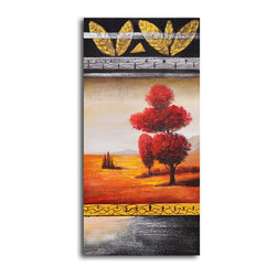 """My Art Outlet - Hand Painted """"Red velvet tree"""" Oil Painting - Size: 20"""" x 40"""" (20"""" x 40""""). Enjoy a 100% Hand Painted Wall Art made with oil paints on canvas stretched over a 1"""" thick wooden frame. The painting is gallery wrapped and ready to hang out of the box. A very stylish addition to any room that is sure to get the attention of guests."""