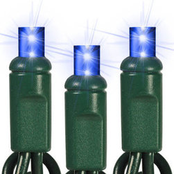 50 Light - LED - 17 ft. String - Blue - Wide Angle - This string of blue LED wide angle mini lights will set your lighting display apart from the ordinary. Cool to the touch, the 50 energy saving LED Christmas light bulbs are spaced 4 inches apart making them perfect for use on poles or tree trunks. Up to 60 sets of the 17-foot strings can be connected end-to-end. These patented wide angle lights are equally brilliant from any viewing angle and will be the highlight of your holiday lighting design.