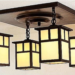 Arroyo Craftsman - Mission Cream T-Bar Four-Light Semi-Flush - -T-Bar Overlay  - Canopy Dimensions: 15 sq.  -Handcrafted in America by American artisans   - Made in the USA Arroyo Craftsman - MCM-5-4T-CR-BZ