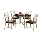 "Acme - 5-Piece Misami Collection Round Glass Top Dinette Set - 5-Piece Misami collection round glass top dinette set with chrome legs and ""X"" back leather like upholstered chairs. This set features a round glass top table with chrome metal base and glass top, 4 - side chairs with a black leather like upholstery. Table measures 48"" Dia. 8mm glass top. Chairs measure 38"" H at the back. Some assembly required."