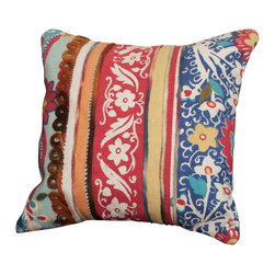Best Selling Home Decor - Rafael Multi-Colored Embroidered Cotton Pillow - The cotton embroidered pattern of the Rafael delivers a classic pillow in a unique design. Perfect for spicing up any couch, bed, or even club chair. Set includes: One pillow; Color: Multi; Edging: Knife edge; Dimensions: 4 inches high x 20 inches wide x 22 inches long; Cover materials: Cotton Embroidery; Fill materials: 100-percent Polyester; Care instructions: Care instructions: Spot clean with a damp cloth; The digital images we display have the most accurate color possible. However, due to differences in computer monitors, we cannot be responsible for variations in color between the actual product and your screen.