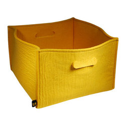 The Felt Store - Large Storage Basket With Handles 16 x 16 x 10 Inch - Yellow - This large, trendy storage basket can hold anything from toys to magazines. Made of flexible, durable high grade felt. 16 inches square, and 10 inches deep with handles for easy mobility.