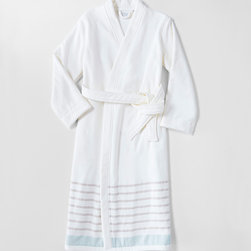 Serena & Lily - Serena & Lily Fouta Robe - Part of our ever-growing Fouta Collection, this robe features sporty stripes in cant-go-wrong colors. Like the towels that inspired them, one side has smooth cotton, with looped terry on the reverse for added wicking.  100% cotton.  Tie-closure.  Machine wash.  Made in Turkey.