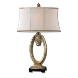 Uttermost - Tiberina Gold Lamp - Heavily Antiqued Silver Champagne Leaf With Dark Undertones And Gold Accents.