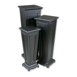 Uttermost - Keir, Plant Stands, Set Of 3 - This set of three plant stands has a matte black finish. Sizes:Sm=11 in. x29 in. x11 in. ,Med=12 in. x35 in. x12 in. , Lg=14 in. x41 in. x14 in.