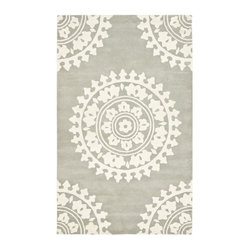 Handmade Soho Chrono Grey/Ivory New Zealand Wool Rug