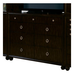 American Drew - American Drew Bob Mackie 9-Drawer Media Dresser - Soft gentle shapes, unique patterns, a mixture of materials and elegant details all describe the unique elements that are synonymous with a Bob Mackie gown; and these motifs are evident in the Bob Mackie Home? Signature collection by American Drew. The Signature collection is a fresh twist on classic designs. The inspiration and story is the creative use of materials and veneer work. The finish is a beautiful Rosewood color with veneer details in primavera, ebony, walnut burl, mahogany and cherry. Black granite, antiqued mirror and golden color accents add depth, drama and sparkle to this collection. Ribbon, lace, feather and starburst motifs add the 'dare to be noticed' flair to this group. Custom designed jewelry-like hardware, pierced brass collars and brass feet on selected items add a fine, finished look to each piece.