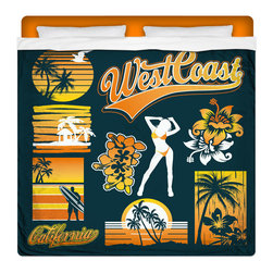 """Eco Friendly """"West Coast Dreamin"""" King Size Sheet Set - Our """"West Coast Dreamin"""" King Size Surfer Sheet Set is made of a lightweight microfiber for the ultimate experience in softness~ extremely breathable!"""