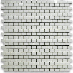 "Stone Center Corp - Thassos White Marble Mini Brick Mosaic Tile 5/8x3/4 Polished - Thassos white marble 5/8"" x 3/4"" brick pieces mounted on 12"" x 12"" sturdy mesh tile sheet"
