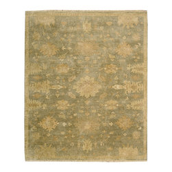 Showroom Products - Soft as a springtime meadow, this lovely Ottoman-inspired design is centered on three floral medallions floating in a field of stylized leaves and blossoms. Tender shades of delicately patinated sage green create a painterly effect.  Offered in a variety of standard sizes.  Purchase at Hemphill's Rugs & Carpets Orange County, CA
