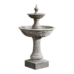 Campania - Campania Acanthus Two Tiered Garden Water Fountain, Terra Nera - Add beauty, class and style to your outdoor area with the Acanthus Two Tiered Fountain of elegance. Water bubbles out of the top of the sphere shaped finial, overflowing the tier into the bowl below. Made from durable reinforced cast stone; pump included.