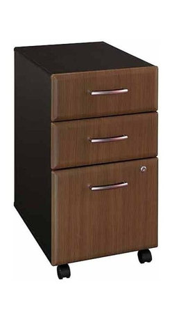 Bush - Three Drawer File Cabinet w Casters and Lock - Originally known as the Advantage collection. Two box drawers hold small office supplies. File drawer opens on full-extension slides. One lock secures bottom two drawers. File drawer holds letter- or legal-size files. Casters for easy mobility when loaded. 15.512 in. W x 20.276 in. D x 28.150 in. H