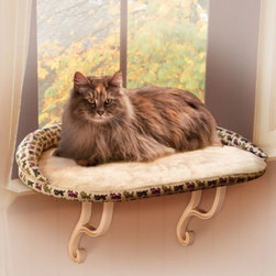 K&h - K&H Deluxe Kitty Sill with Bolster - This kitty sill features a bolster covered with an attractive poly/cotton blend kitty print. Sleeping surface is lined with soft velvety microfleece and cover can be removed for machine washing.