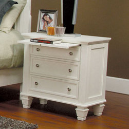 Coaster - Sandy Beach 3 Drawer Night Stand - This collection is crafted with tropical hardwoods and veneers in a white finish. Case pieces feature multiple drawers for plenty of storage. The groups clean and straight lines with its bright finish is sure to brighten up any bedroom.