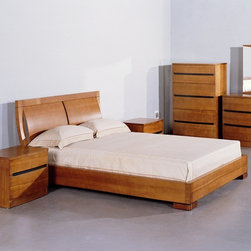 Hokku Designs - Hokku Designs Maya Panel Bed - Features: -Curved headboard.-Platform slats system for mattress support.-Sunken mattress placement.-Offers excellent workmanship in a contemporary package.-Solid wood and veneer construction on medium density fiberboard.-Maya collection.-Finish: Teak.-Distressed: No.Warranty: -One year warranty.