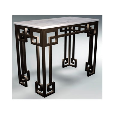 Greek Key Console Table, Wrought Iron - This wrought iron Greek key console table would be stunning inside as well as out. Add a marble or glass top. It is available in aluminum and many color choices.
