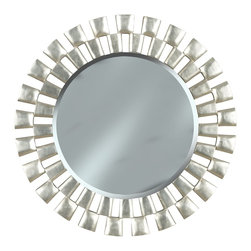 """Kenroy - Kenroy KR-60019 Gilbert Wall Round Mirror - Like a piece of jewelry with a shiny textured Silver finish, Gilbert's stunning staggered frame encircles a smooth two foot mirror providing eye catching contrast.  Overall Product Dimensions:  36 Inch Diameter Mirror Size:  24 Inch Diameter 1"""" Beveled Silver Mirror"""