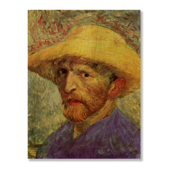 Gallery Direct - 'Self Portrait with Straw Hat III' Print on Wood by Vincent Van Gogh - Own this classic print on wood. Portions of this print that are light in color will have birch wood grain showing through, creating a unique effect.