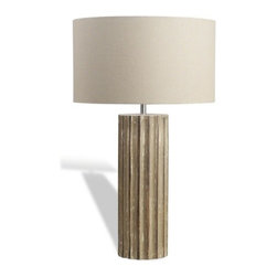 Interlude - Interlude Jenness Wood Lamp - The Jenness Wood Lamp with its ridged base in antique taupe will blend with any environment or d�cor.