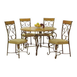 "ACMACM07720 - 5-Piece Metal and Wood Dining Table Set in Oak Finish - 5-Piece metal and wood dining table set in oak finish, includes the table and 4 chairs, Bakers rack also available. Table measures 48"" Dia, chairs 41"" H at back of seat. Some assembly required."