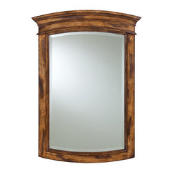 Ambella Home - Rustico Mirror - Complete the look of your warm and rustic powder room with this elegant mirror. The beautifully-carved wood and beveled glass make a classic combination.