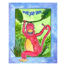 Oh How Cute Kids by Serena Bowman - Monkey See Monkey Brush, Ready To Hang Canvas Kid's Wall Decor, 8 X 10 - I created this in hopes it would serve has reminders to my kids.  Make the bathroom a fun place and maybe just maybe the kiddies will actually go wash there hands and brush their teeth??  Here's to hoping!