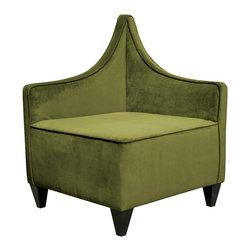 Howard Elliott - Howard Elliott Bella Moss Manhattan Corner Chair - Manhattan corner chair bella moss