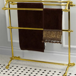 None - Vintage Pedestal Solid Brass Towel Stand - Made from solid brass,this vintage pedestal towel stand is resistant to scratches,corrosion and tarnish.  The beautiful polished brass finish is durable and will last for years to come.