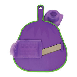 Kuhn Rikon - Kuhn Rikon Veggie Slicer - Eggplant - Don't let the cute look fool you. Place mandoline over a bowl to perfectly slice and julienne. Comes with a protective hand guard.