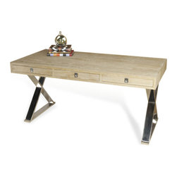 Interlude - Interlude Menton Desk - The Menton Desk is a handsome oak three drawer desk with a ceruse finish, and a stainless steel frame.