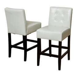 Great Deal Furniture - Gregory Ivory Leather Back Stool (Set of 2), Ivory Counter Height - These comfortably soft Gregory leather counter stools are a perfect transitional piece from your kitchen to your living room. Place them in your kitchen, bar or dining room and you will enjoy the look and feel of these stools.