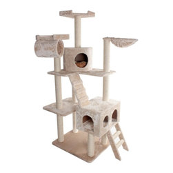 "MAJESTIC PET PRODUCTS - 73"" Casita Cat Tree - You might find yourself getting a little jealous when you watch your cat take advantage of the many amusements this cat tower offers. Made of faux fur with rope-wrapped scratching posts, this cat playground features two cozy kitty houses, a ladder, a ramp, a nest, two perches and a dangly mouse. Your cat will play and nap here for hours. Easy for humans to assemble."