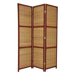 Oriental Furniture - 6 ft. Tall Woven Accent Room Divider - 3 Panel - Red Brown - An attractive, decorative accent as well as a practical room divider. Sturdily crafted from light weight, strong, kiln dried Spruce, with stitched split popsicle stick style slats, slightly off set to allow light and air to pass through the panel shade.