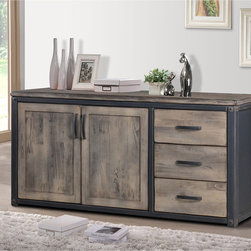 None - Heritage 2-door Buffet - Dress up your living room with this rustic-inspired Heritage Buffet,featuring a weathered washed grey finish. This Heritage piece also offers two doors and three drawer making it an ideal piece for your contemporary home.