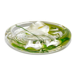 """Emilio Robba - Glass Flower Bowl, White Calla Lily, Large - Large glass flower bowl filled with White Calla Lilies and our exclusive """"Illusion Water"""". (ER240WCA)"""