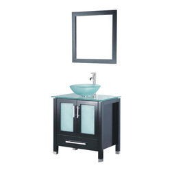 Adornus - Adornus ADRIAN-24-E-G Espresso Vanity - All Wood Vanity with White Glass top and Glass Vessel.