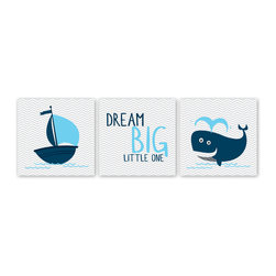 Nursery Code - Nautical Nursery Dream Big Little One - Whale and Boat-3 Canvas, Blue, 14 X 14 - Nautical art for boys nursery room decor - Dream big little one- Set of three gallery warped canvases.