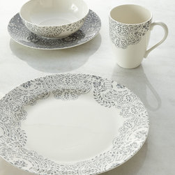 "Lenox - Four-Piece Marchesa French Lace Place Setting - HEATHER GREY - LenoxFour-Piece Marchesa French Lace Place SettingDetailsFashion for the table. This dinnerware was inspired by the intricate laser-cut detailing that is often found on Marchesa gowns bringing a bit of couture elegance to your dining.Crafted of Lenox fine white bone china.Dinner plate 11.5""Dia.Salad plate 9""Dia.Bowl 5.9""Dia.Mug 14 oz.Dishwasher and microwave safe.USA made."