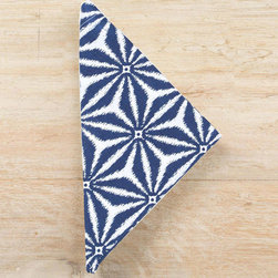 """Pine Cone Hill - PCH Kala Indigo Napkins Set of 4 - The Kala napkins complement a dining table with fresh, worldly style. A dazzling indigo and white geometric pattern pops on this stunning PCH design.  22""""W x 22""""H; Set of four; 60% linen, 40% cotton; Machine wash; Designed by Pine Cone Hill, an Annie Selke company"""