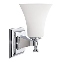 Sconce Wall Light with White Glass in Chrome Finish -