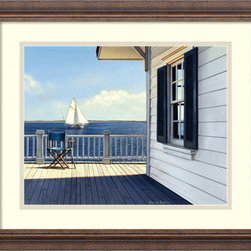 Amanti Art - On the Bay Framed Print by Daniel Pollera - Inspired by the styles of Hopper, Homer and Wyeth, Daniel Pollera's work evokes tranquility and solitude. Living by the coastal landscapes that he paints, Pollera brings an almost photographic realism to his beach scenes.