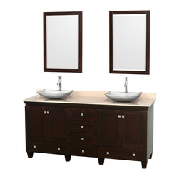 "Wyndham Collection - 72"" Acclaim Double Vanity w/ Ivory Marble Top & Arista White Carrera Marble Sink - Sublimely linking traditional and modern design aesthetics, and part of the exclusive Wyndham Collection Designer Series by Christopher Grubb, the Acclaim Vanity is at home in almost every bathroom decor. This solid oak vanity blends the simple lines of traditional design with modern elements like beautiful overmount sinks and brushed chrome hardware, resulting in a timeless piece of bathroom furniture. The Acclaim comes with a White Carrera or Ivory marble counter, a choice of sinks, and matching mirrors. Featuring soft close door hinges and drawer glides, you'll never hear a noisy door again! Meticulously finished with brushed chrome hardware, the attention to detail on this beautiful vanity is second to none and is sure to be envy of your friends and neighbors"
