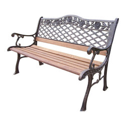 Oakland Living - Oakland Living Tea Rose Cast Iron Bench in Antique Bronze - Oakland Living - Outdoor Benches - 3001AB - About this product: