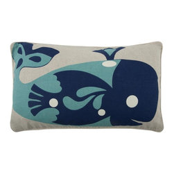 Thomas Paul - Amalfi Whale Flax Pillow - Flax is another name for linen-flax refers to the plant and seed, whereas linen refers to the fabric that is made from the flax plant. Flax or linen is a very eco friendly fiber. Thomas Paul has left the ground color in this collection in its natural state, providing a nice contrast with the brighter colors of the print.  The Amalfi collection is inspired by the glamorous and alluring, Amalfi Coast in Italy, during the 1960's. A fun collection of bold prints in vibrant hues and vintage themes, for your home and any seaside escape. Happy travels!